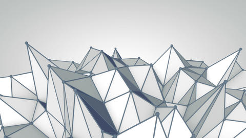 Grey polygonal 3D surface. Futuristic loopable animation Animation