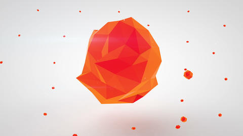 Red polygonal 3D shape. Abstract modern animation loopable Animation