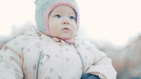 Portrait Of Baby Girl At Winter stock footage