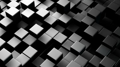Metallic 3D boxes. Loopable abstract background Animation