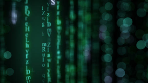 Green alphabet matrix rain on screen. Seamless loop animation Animation