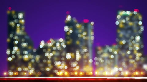Out of focus lights night city and traffic loop Animation