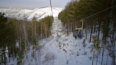 Rope tow system in ski resort Footage