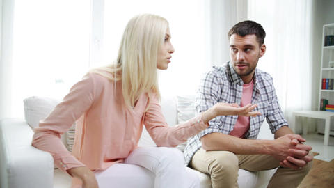Unhappy Couple Having Argument At Home stock footage