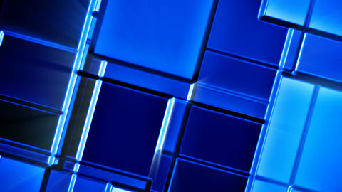 Seamless looping blue shiny mosaic tiles abstract motion background Animation