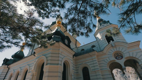 View of an Orthodox church on a steep cliff. Steadicam shot of a Church on a Footage