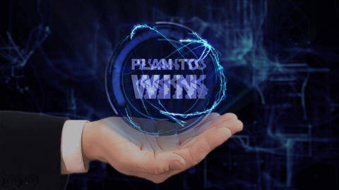 Painted hand shows concept hologram Plan to win on his hand Footage