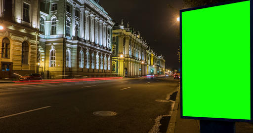 Billboard green screen on the street . time laps Footage
