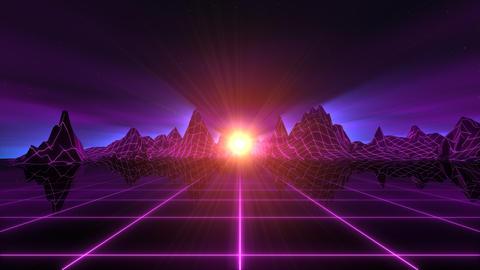 Retro-Futuristic Horizon Background Stock Video Footage