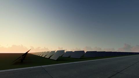 Sunrise Blue solar panels Footage