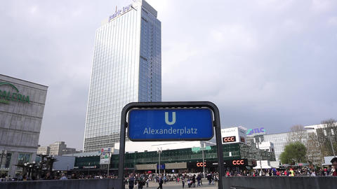 Alexanderplatz Square Railway Station Berlin, Park Inn Clouds Sky Cityscape Live Action
