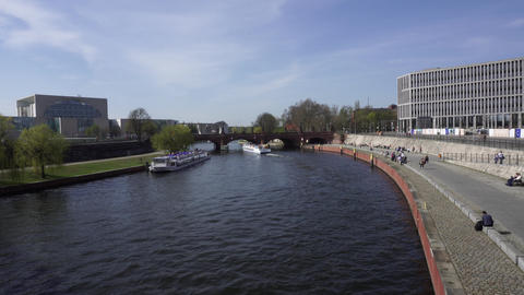Excursion Ships Floating Under Bridge On Spree River Berlin Germany Spring Day Footage