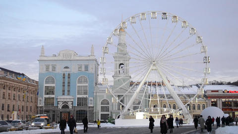 White Wheel of view in the city center Footage