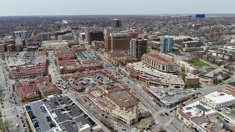 Ungraded aerial panning shot of South Kansas City in Country Club Plaza Footage