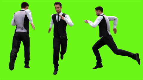 Young businessman running on a green screen background. Looped animation. 4k Animation