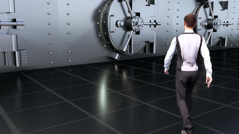 A Young businessman goes to the safe in the Bank Animation