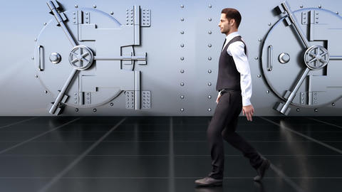 A young businessman goes by the safe in the Bank Animation