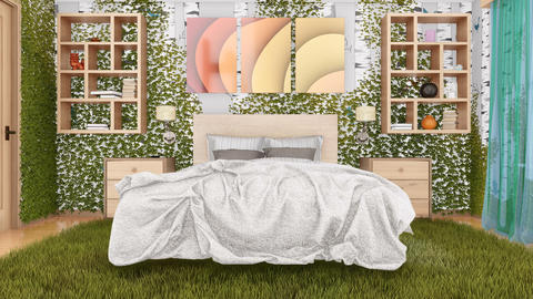 Eco green bedroom interior 3D design concept Animation