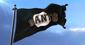 San Francisco Giants flag, american professional baseball team, waving - loop Animation