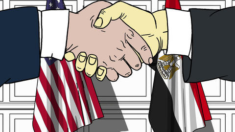Businessmen or politicians shake hands against flags of USA and Egypt. Official Footage