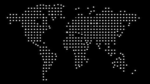 Lights World Map Stock Video Footage