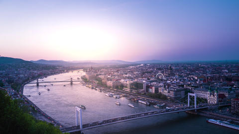 views of the capital city of Hungary In the sunset Footage
