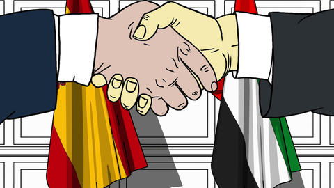 Businessmen or politicians shake hands against flags of Spain and UAE. Official Footage