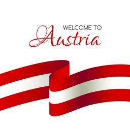 Welcome to Austria. Vector welcome card with flag of Austria ベクター