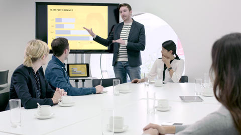 Business presentation in boardroom Live Action