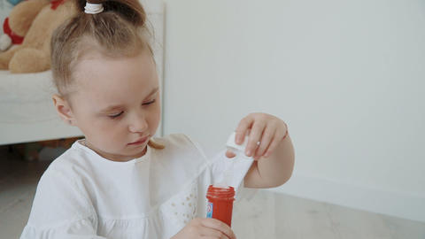 Portrait of a cute little girl Stock Video Footage