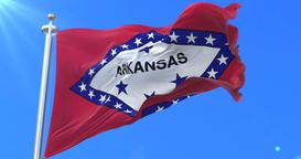 Flag of Arkansas state, region of the United States - loop Animation