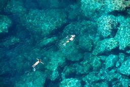 Drone view of a couple snorkeling in tropical sea Fotografía
