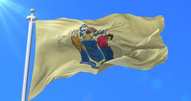 Flag of New Jersey state, region of the United States - loop Animation