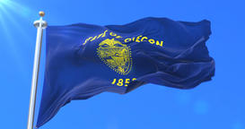 Flag of Oregon state, region of the United States - loop Animation