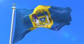 Flag of Philadelphia city, city of United States of America - loop Animation