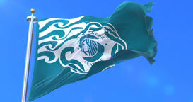 Flag of Seattle city, city of United States of America - loop Animation