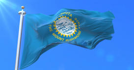 Flag of South Dakota state, region of the United States - loop Animation