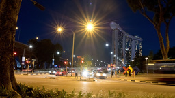 Singapore Timelapse Raffles Ave at Night Traffic Cars Footage