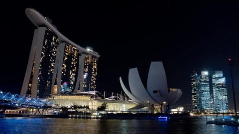 Singapore Timelapse Big City at Night Footage