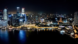 Singapore Timelapse Skyline at Night with Traffic and Skyscrapers Footage