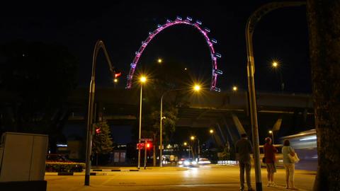 Singapore Timelapse Singapore Flyer Temasek Ave at Night Traffic Cars Time Lapse Live Action
