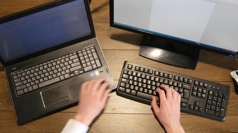 Person Hands Working On Laptop At Desk 4k stock footage