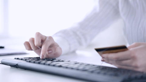Woman With Credit Card Making Internet Shopping stock footage