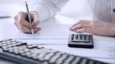 accountant making calculations and taking notes Live Action