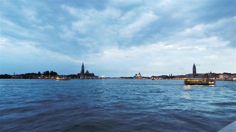 Rotation Panoramic Clouds Timelapse of Venice, Italy at Dusk Footage