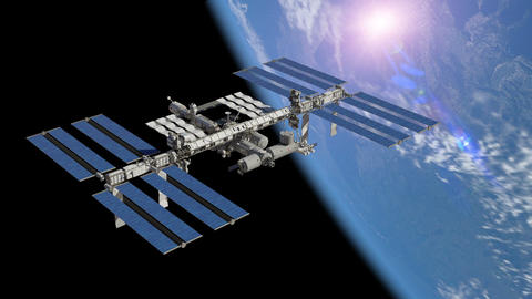 3d space station on the background of the planet Earth Animation