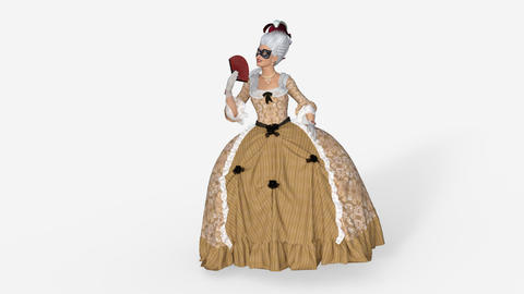 3d model lady of the eighteenth century waving a fan, Animation, Alpha Channel Animation