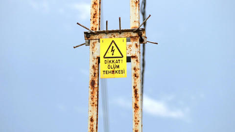 electric pole and death sign warning sign Footage