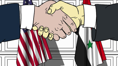 Businessmen or politicians shake hands against flags of USA and Syria. Official Footage