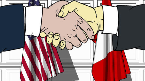 Businessmen or politicians shake hands against flags of USA and Peru. Official Footage